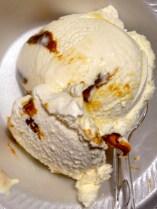 vanilla gelato with caramel and fudge
