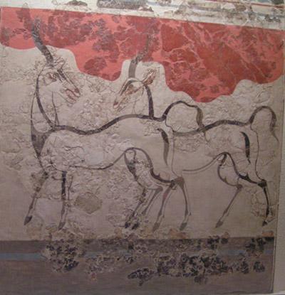 Fresk przedstawiający gazele w Xeste Beta. Narodowe Muzeum Archeologiczne w Atenach.