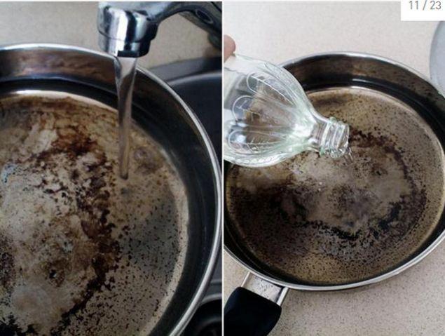 Yanmış tencere ve tavaları temizlemek için biraz bulaşık deterjanı ve 2 yemek kaşığı karbonatı sıcak suda sabaha kadar bekletin. Ardından yanmış tava ya da tencerenizi bu su ile yıkayın.