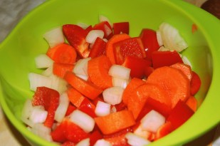 carrots, red peppers and onion