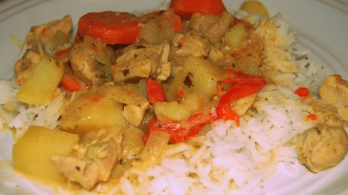 madras curry chicken and basmati rice