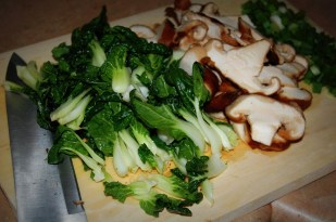 bok choy & shiitake mushrooms