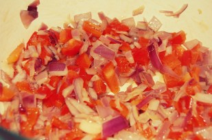saute onion and red pepper