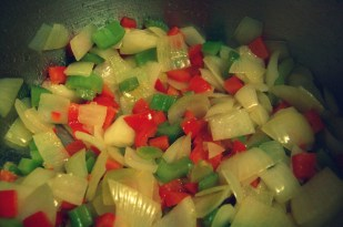saute onions pepper and celery