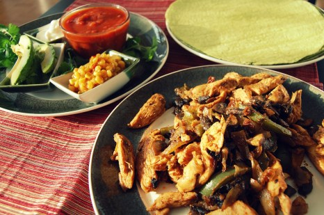 chicken fajitas and toppings