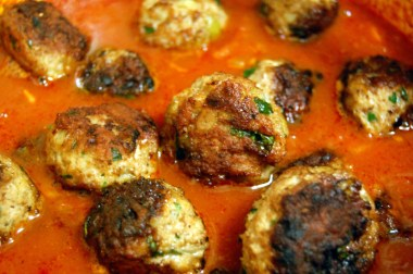 add meatballs to sauce and simmer
