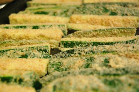 breaded zucchini ready to bake