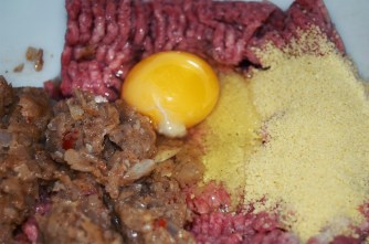 onion mixture egg meat and couscous
