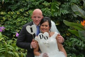 Slecht weer trouwfoto's