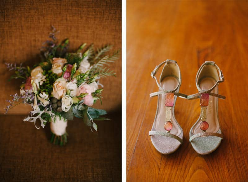 bride shoes and bouquet details