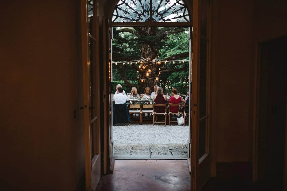 Reception under the tree at Villa di Ulignano wedding