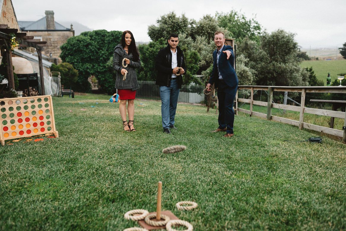Tasmania wedding photographer playing field games