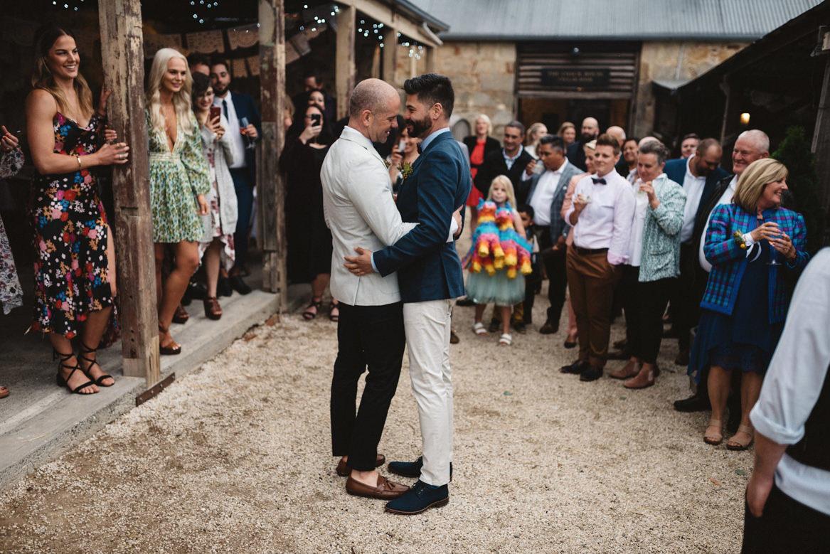 Tasmania wedding photographer same sex first dance