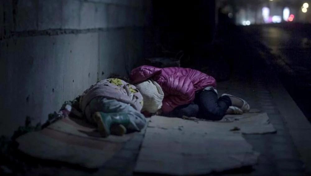 El descanso de los niños refugiados