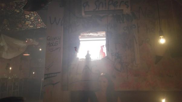 "Blick zur ""glory hole"" im Nebel"