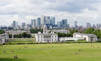 Blick auf die City of London von Greenwich