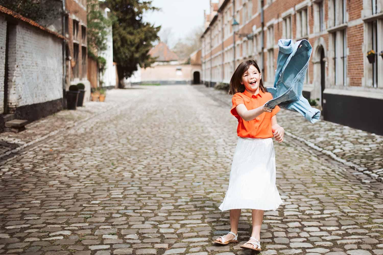 portret meisje communie stad