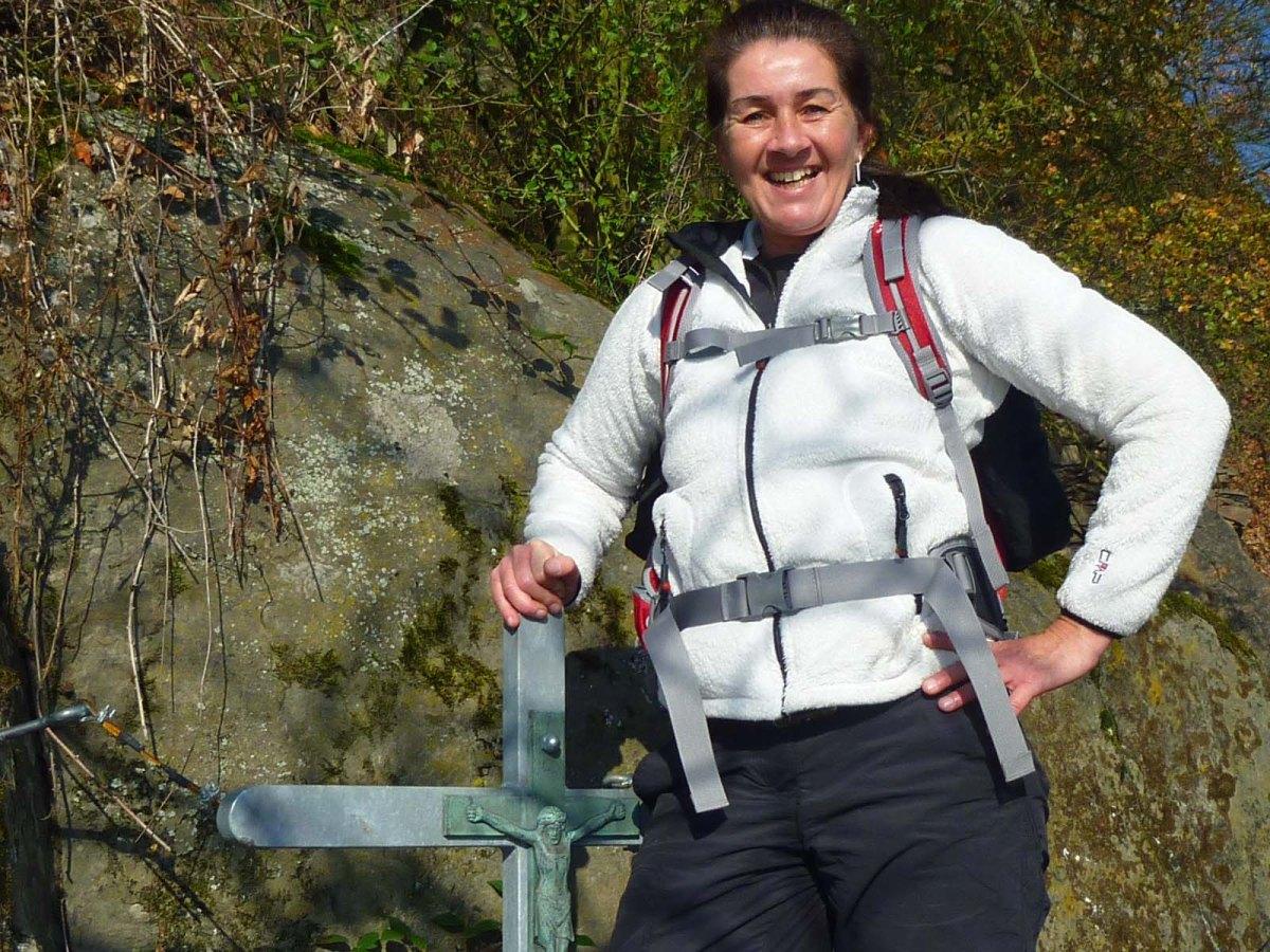 Klettersteig geschafft, Tanja ist stolz
