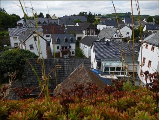 Blick von der Burg auf das Dorf