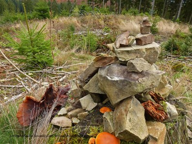 Die vierlerorts zu findenden Steinhäufchen