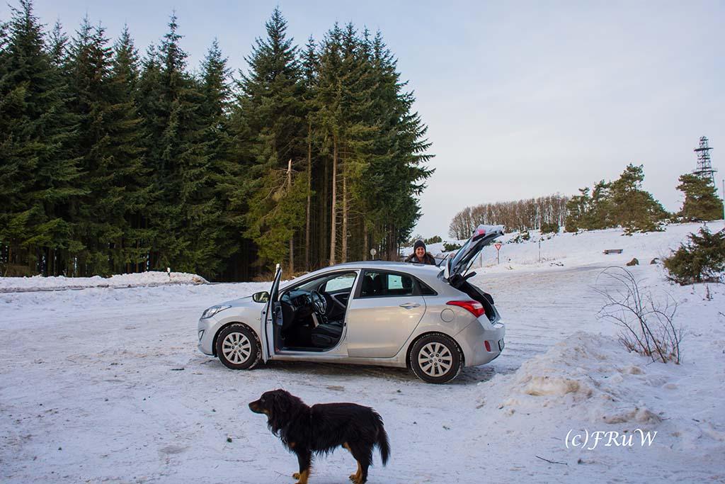 Schneewanderung in Arft - Parkplatz am Raßberg