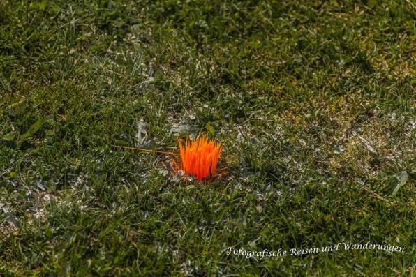 Markierung der Ecke des Fußballplatzes. Sieht aus wie Pumuckl oder?