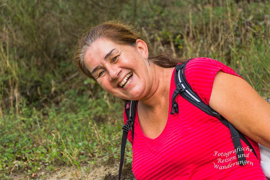Glückliches Wandergesicht von Tanja