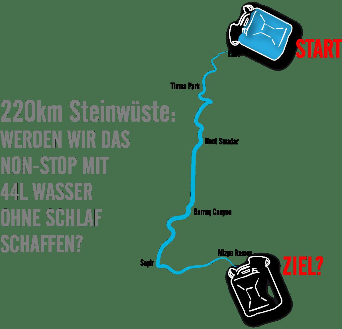 220 km Steinwüste