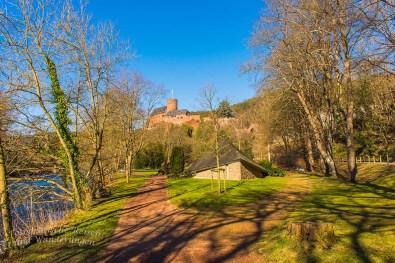 Die Burg Hengebach im Blick