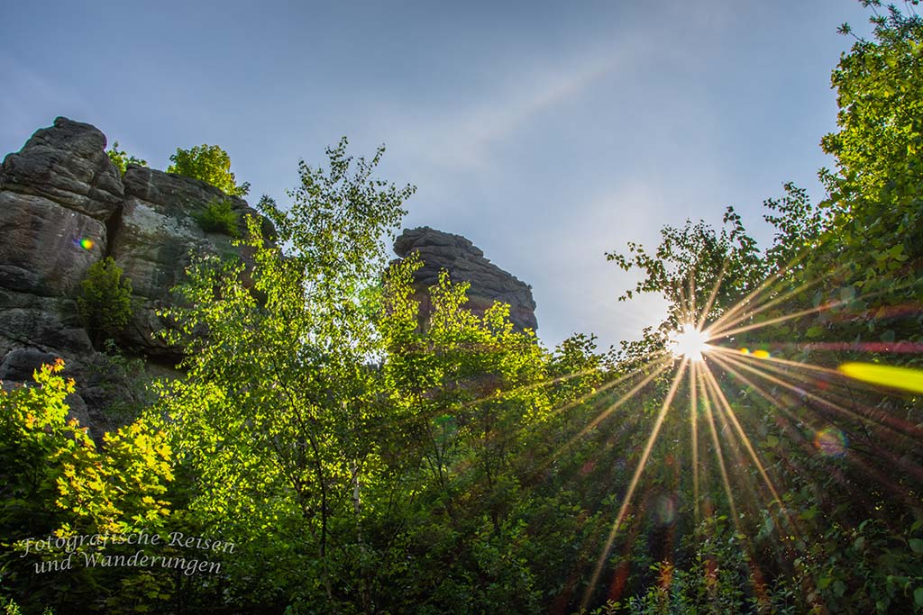 Noch einmal die tief stehende Sonne an den Externsteinen