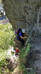 Und wieder eine Leiter für mich auf dem Klettersteig am Mittelrhein in Boppard