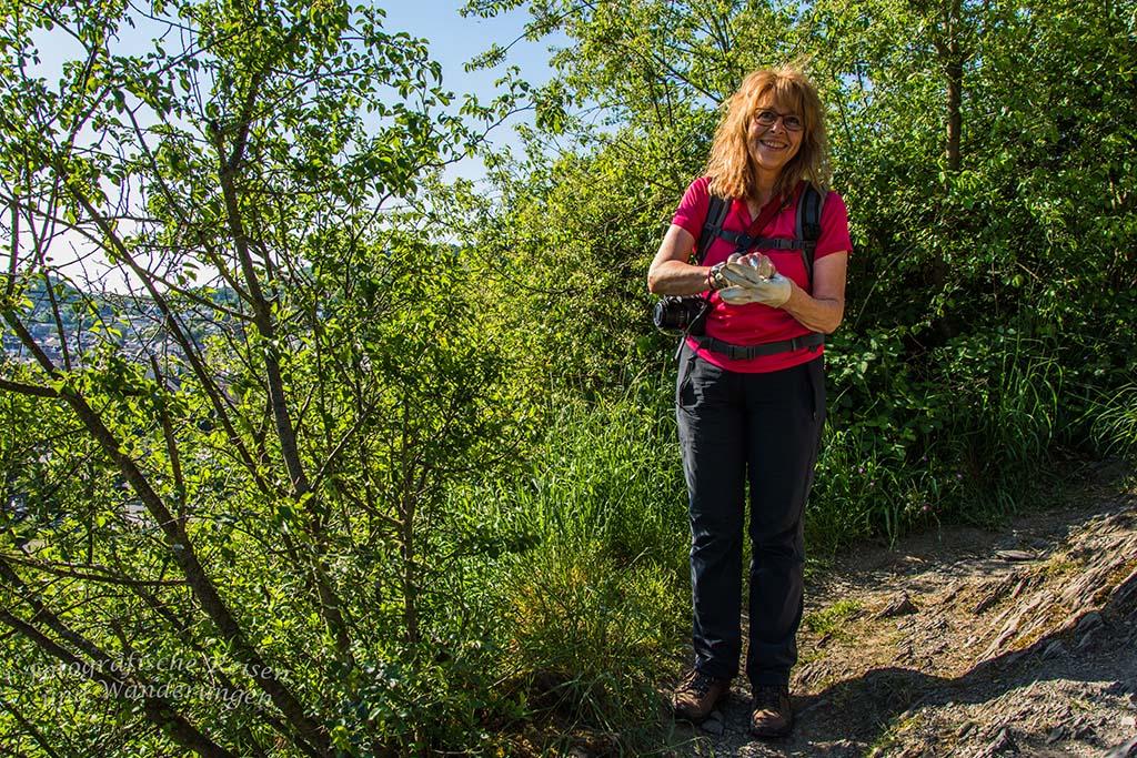 Ute auf dem Klettersteig am Mittelrhein in Boppard