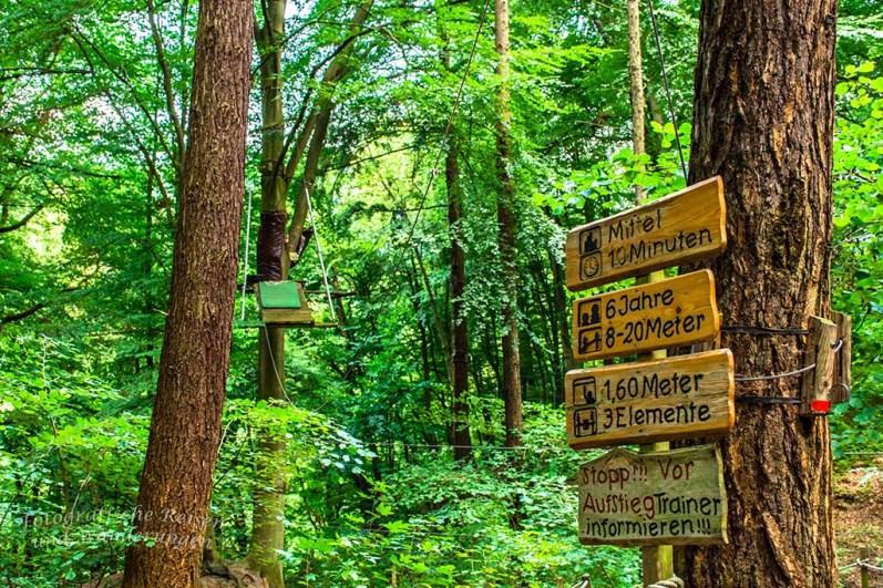Verschiedene Schwierigkeitsgrade im Kletterwald