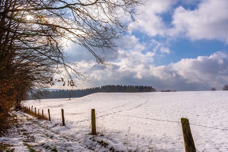 Es liegt noch reichlich Schnee - Wandern in der Bergische Schweiz
