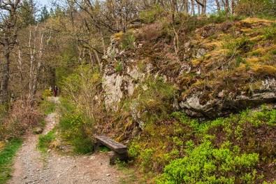 Bank am Fels - Eifelsteig zwischen Monschau und Einruhr