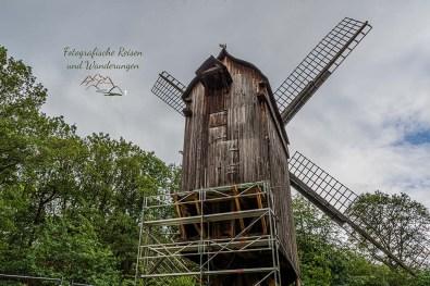 Die Bockwindmühle aus Spiel wird saniert und kann deshalb nicht besichtigt werden
