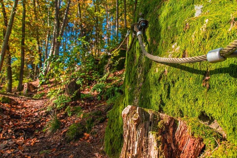 Seile sichern den Weg zum Litermont Gipfel