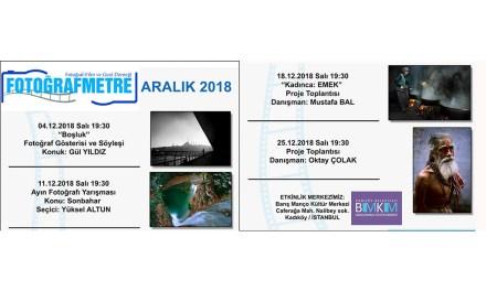 Aralık 2018 Etkinlik programımız