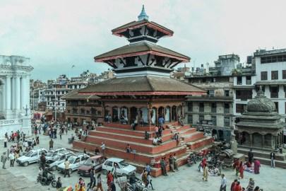 Templo hinduista en Durbar Square de Katmandú antes del terremoto
