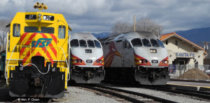 The 551 Train (right) set for 1:02 p.m. departure for Albuquerque and Belen.