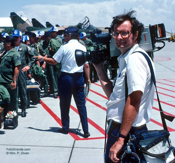 Jim Fish shooting video for KGGM-TV Albuquerque at Kirtland Air Force Base, 1983. Photo © William P. Diven