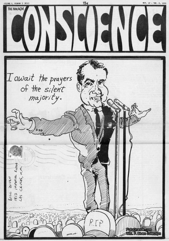 NMA&M Conscience, v. 2, no. 5, Nov. 12-Dec. 2, 1969. Author's collection. The title reflects an earlier name for New Mexico State University: New Mexico College of Agriculture and Mechanic Arts.