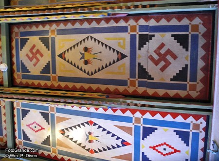 Ceiling motifs in the 1923 Schaffer Hotel, Mountainair, N.M. Photo © William P. Diven.