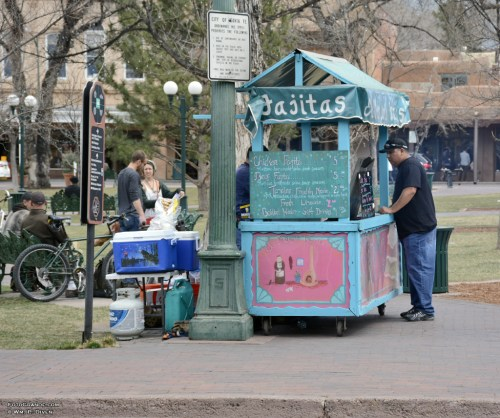 Comida to go from El Molero Fajitas on the Santa Fe Plaza blocks from the capitol with nary a taco truck in sight. Photo © William P. Diven. (Click to enlarge)
