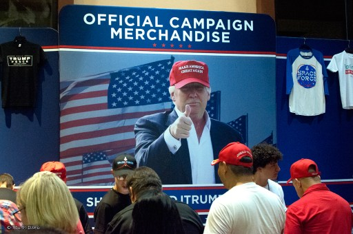 Official campaign merchandise for sale at the Rio Rancho, N.M. rally. © William P. Diven.