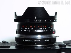 Close up of the Voigtlander Super Wide Heliar 15mm F4.5 II mounted on my Fuji X-Pro1 VIA Rayqual Leica M to Fuji X mount adapter