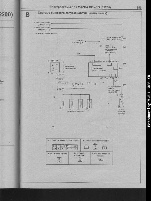 Схемы электрооборудования Mazda Bongo (E2200) » Схемы