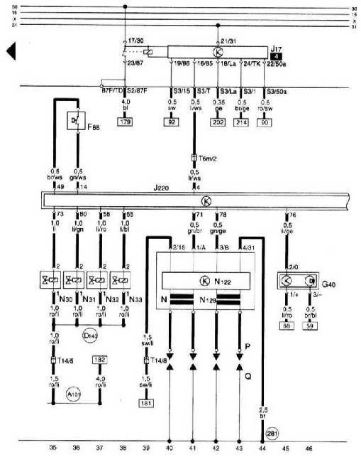 Схемы электрооборудования Audi A3 1996–2003 (8L