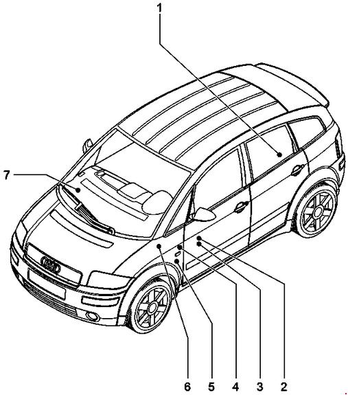 '99-'05 Audi A2 Fuse Box Diagram