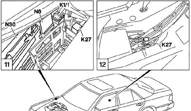 Схема предохранителей и реле Mercedes W124 (E-Class; 1984—1995) » Схемы предохранителей